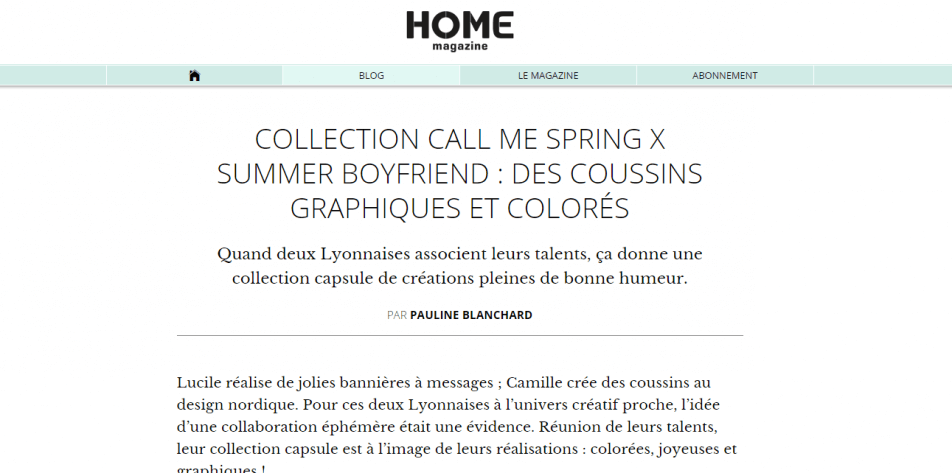 Home magazine about Call me Spring