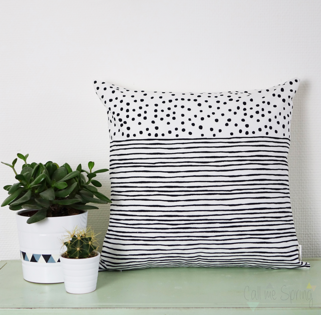 coussin rayures pois