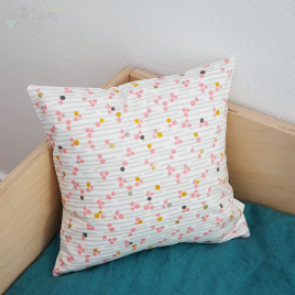 coussin pois rose
